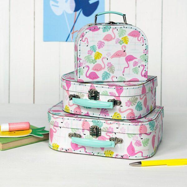 set de 3 valises rex flamands rose