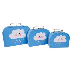 set de 3 valises rex jouets. clouds nuages